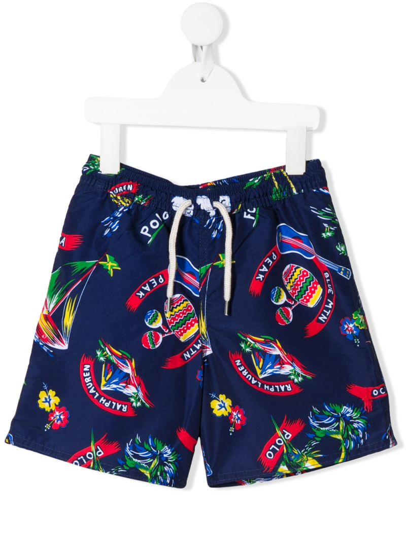RALPH LAUREN KIDS: costume da bagno in nylon stampa Captiva Tropicali Colore Multicolore_1