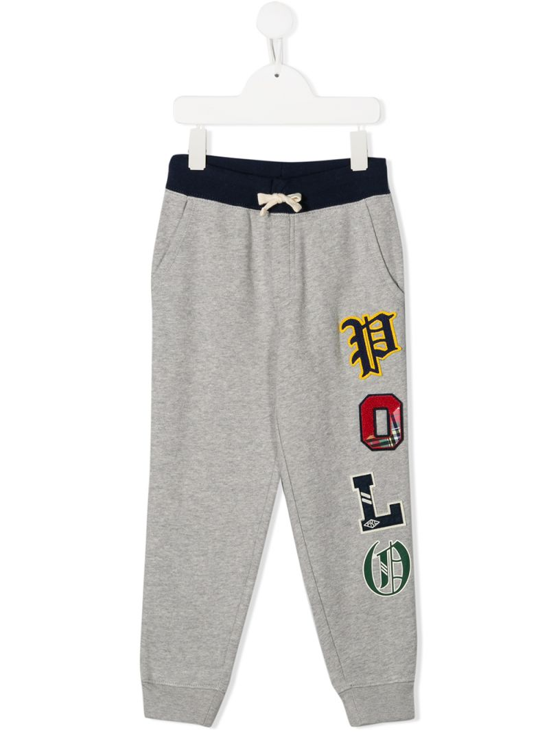 RALPH LAUREN KIDS: Polo print jersey joggers Color Grey_1