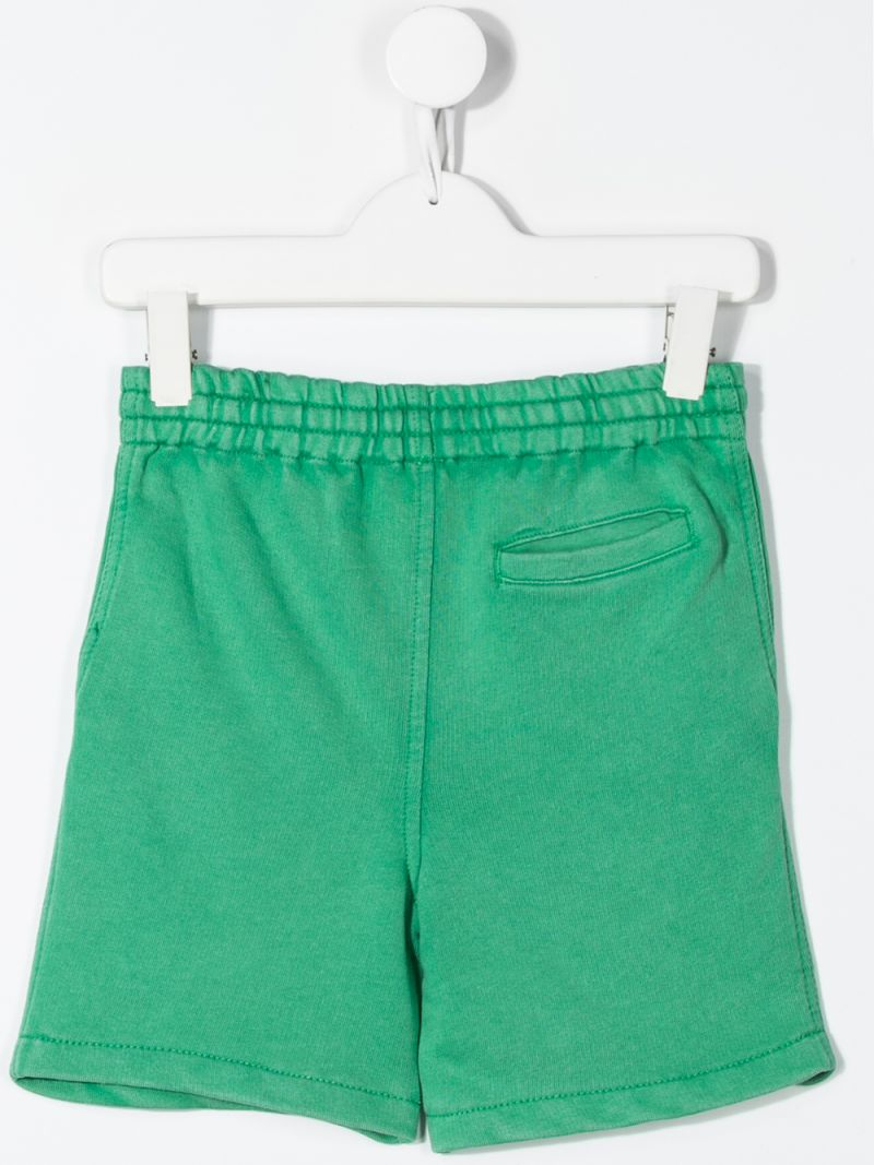 RALPH LAUREN KIDS: logo print cotton shorts Color Green_2