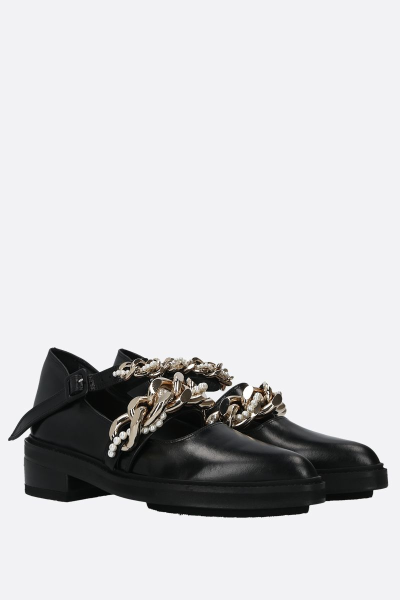 SIMONE ROCHA: chain-detailed shiny leather loafers Color Black_2