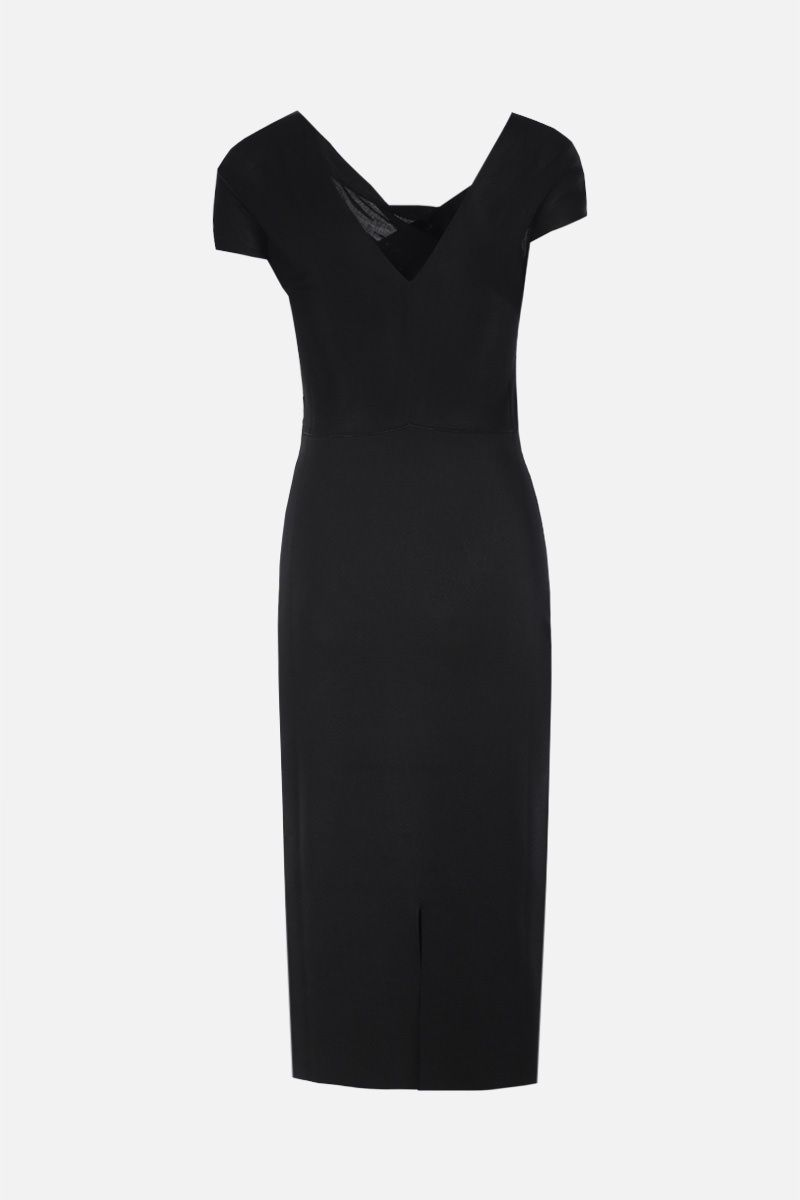 VICTORIA BECKHAM: twist drape stretch knit midi dress Color Black_2