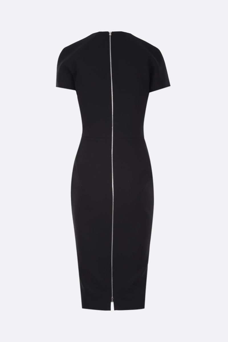 VICTORIA BECKHAM: t-shirt fitted dress in bonded crepe Color Black_2