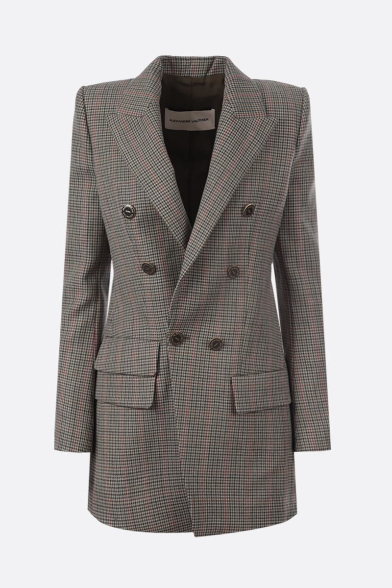 ALEXANDRE VAUTHIER: houndstooth wool double-breasted jacket Color Green_1