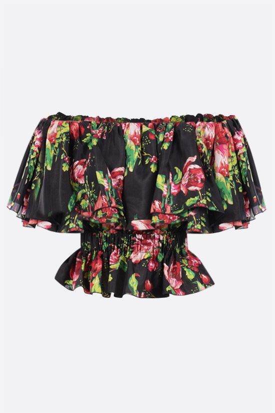 ALEXANDRE VAUTHIER: floral print silk off-the-shoulder top Color Multicolor_1