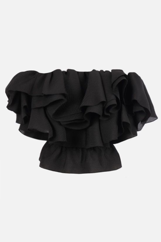 ALEXANDRE VAUTHIER: piquet off-the-shoulder top Color Black_1
