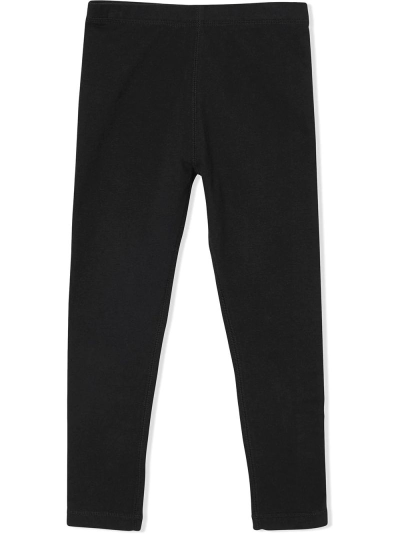 BURBERRY CHILDREN: stretch cotton leggings with logoed band Color Black_1