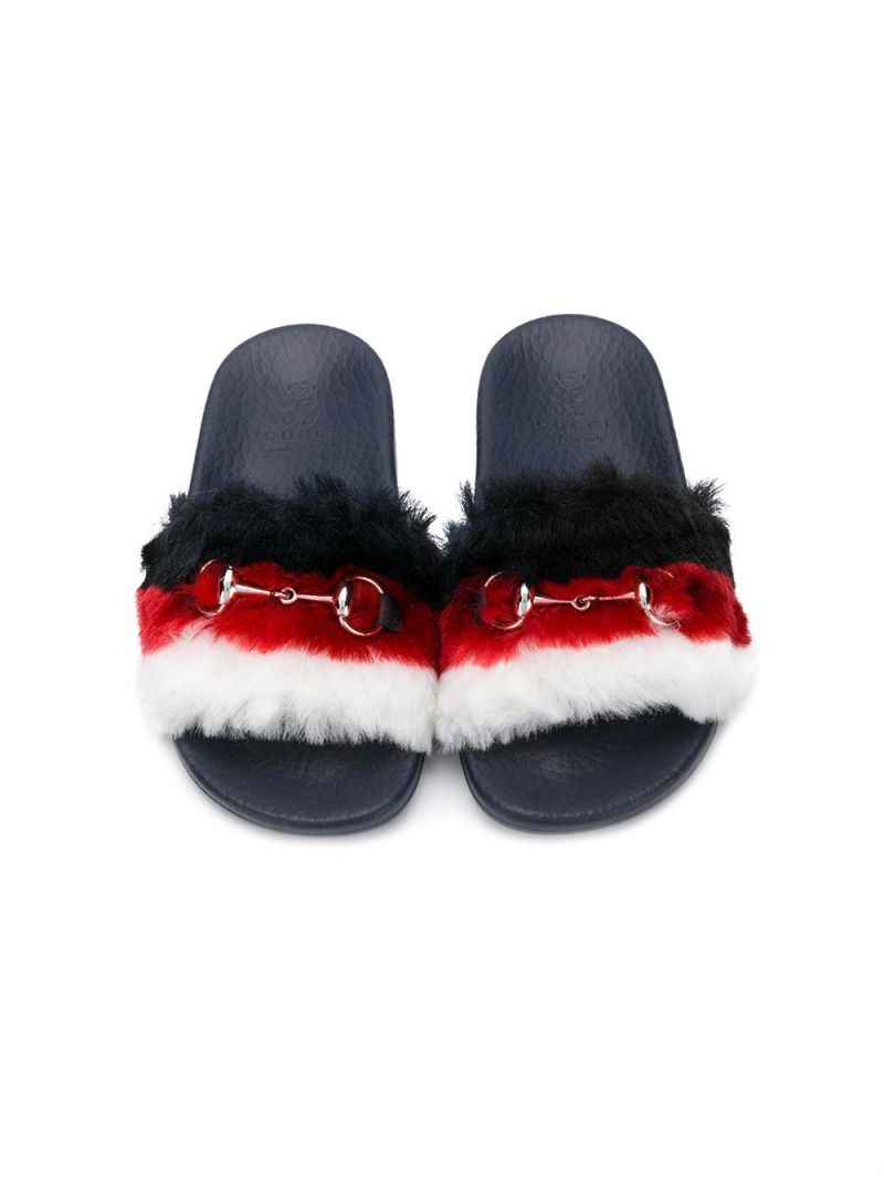 GUCCI CHILDREN: faux fur slides with Horsebit Color Multicolor_3