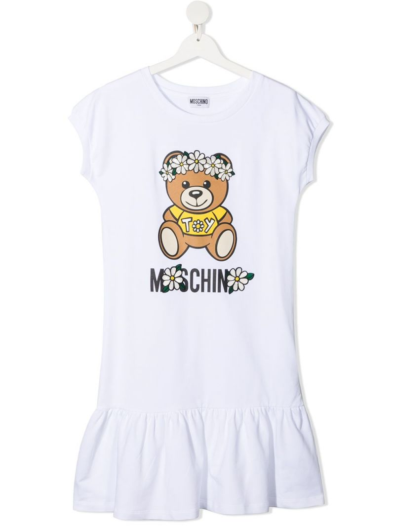 MOSCHINO KIDS: Daisy Teddy Bear cotton dress Color White_1