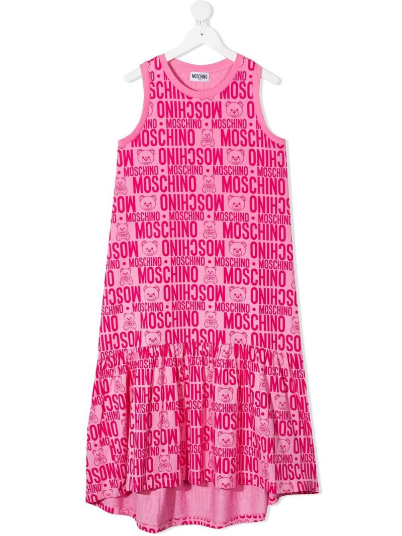 MOSCHINO KIDS: logo print stretch cotton sleeveless dress Color Purple_1
