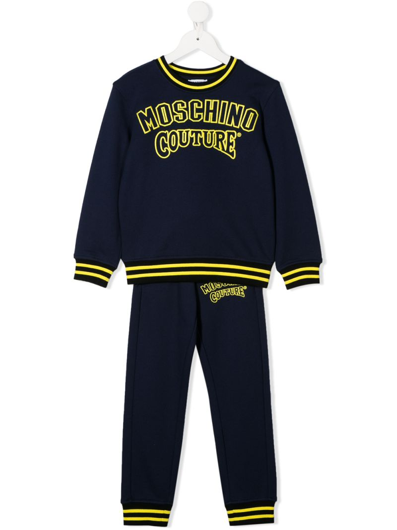 MOSCHINO KIDS: Moschino Couture embroidered cotton tracksuit Color Blue_1
