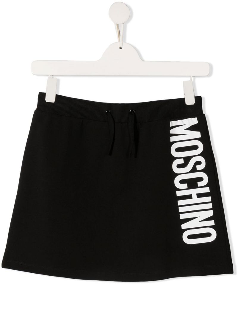 MOSCHINO KIDS: Moschino print stretch cotton skirt Color Black_1