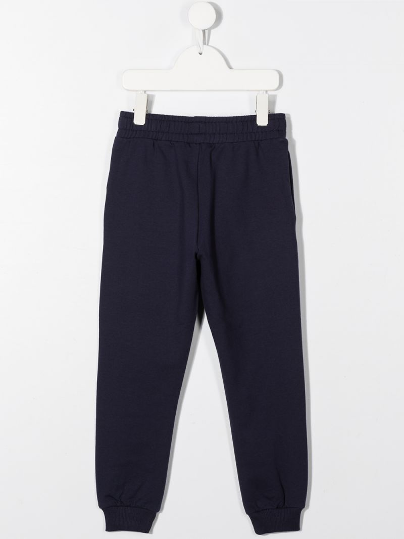 MOSCHINO KIDS: pantalone jogging in cotone stretch stampa logo Colore Blu_2