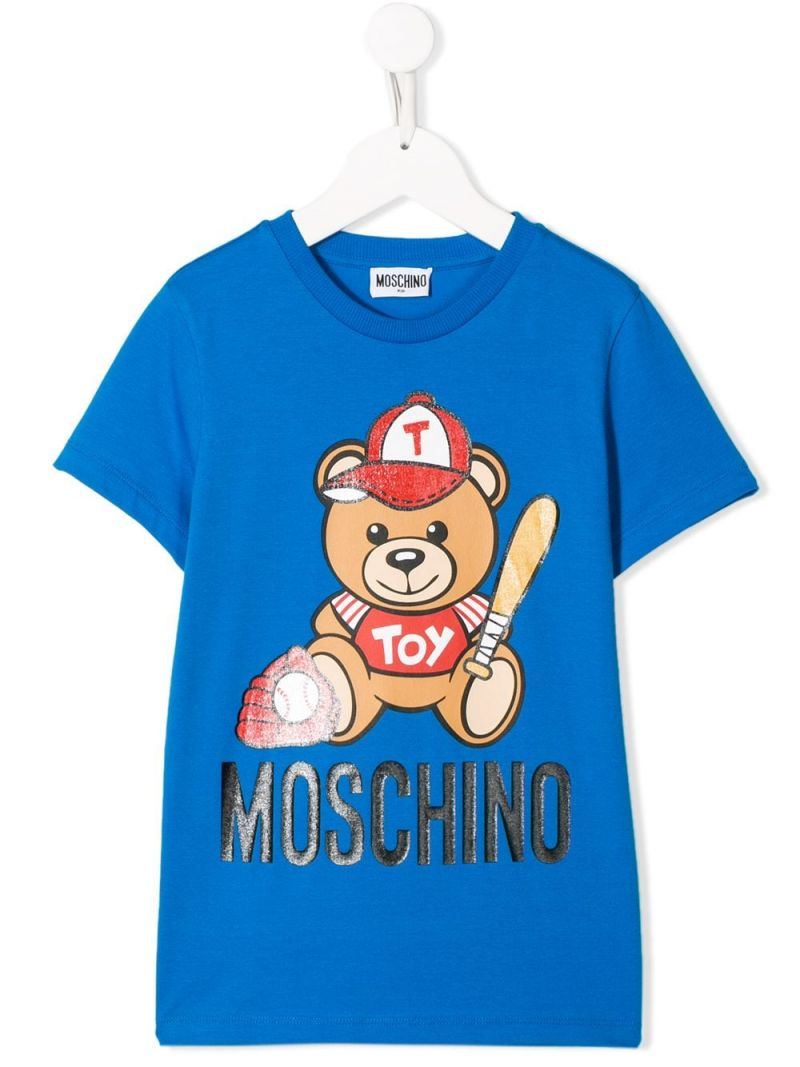 MOSCHINO KIDS: Baseball Teddy Bear cotton blend t-shirt Color Blue_1