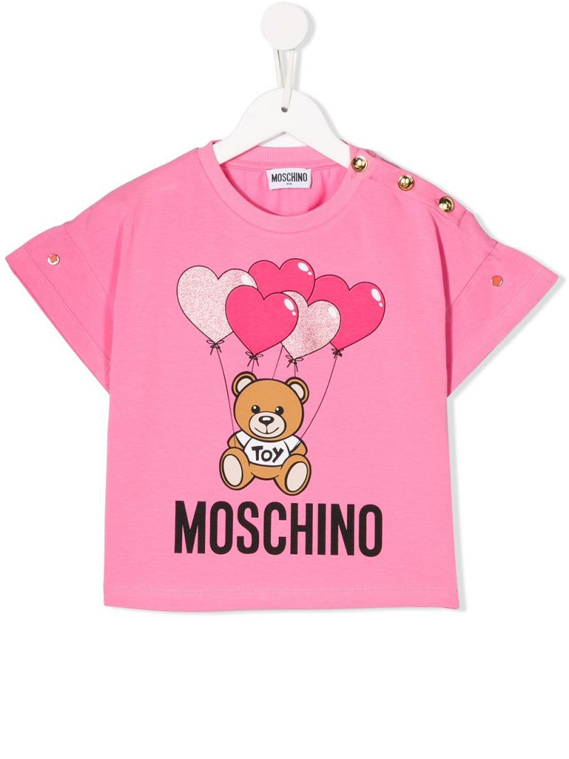 MOSCHINO KIDS: Heart Balloons Teddy Bear stretch cotton t-shirt Color White_1