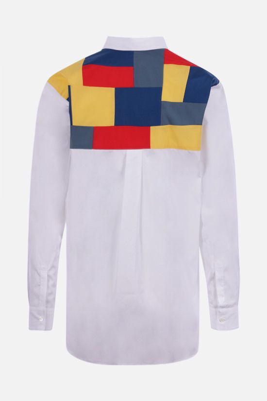 COMME des GARCONS SHIRT: cotton shirt with multicolour patchwork insert Color White_2