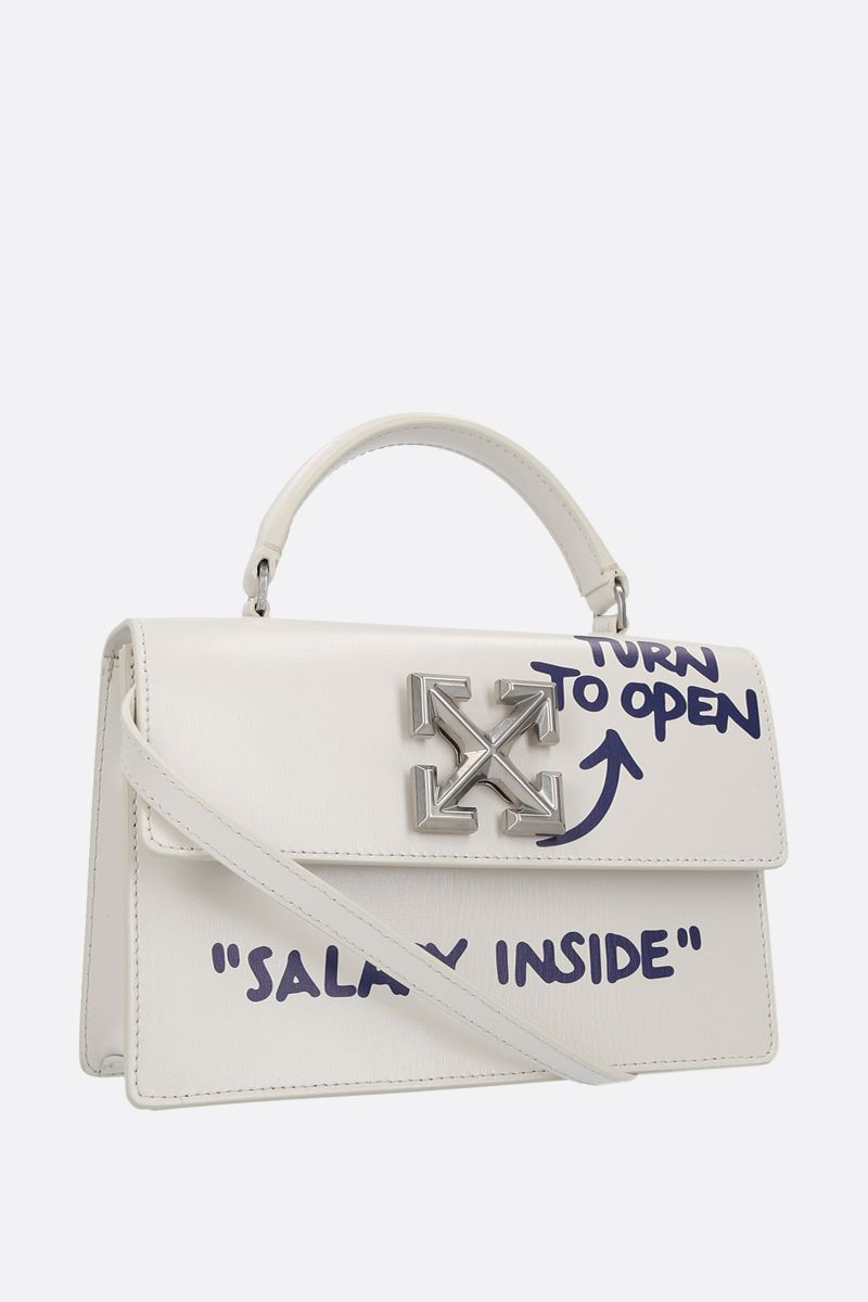 OFF WHITE: Jitney 1.4 smooth leather shoulder bag Color White_2