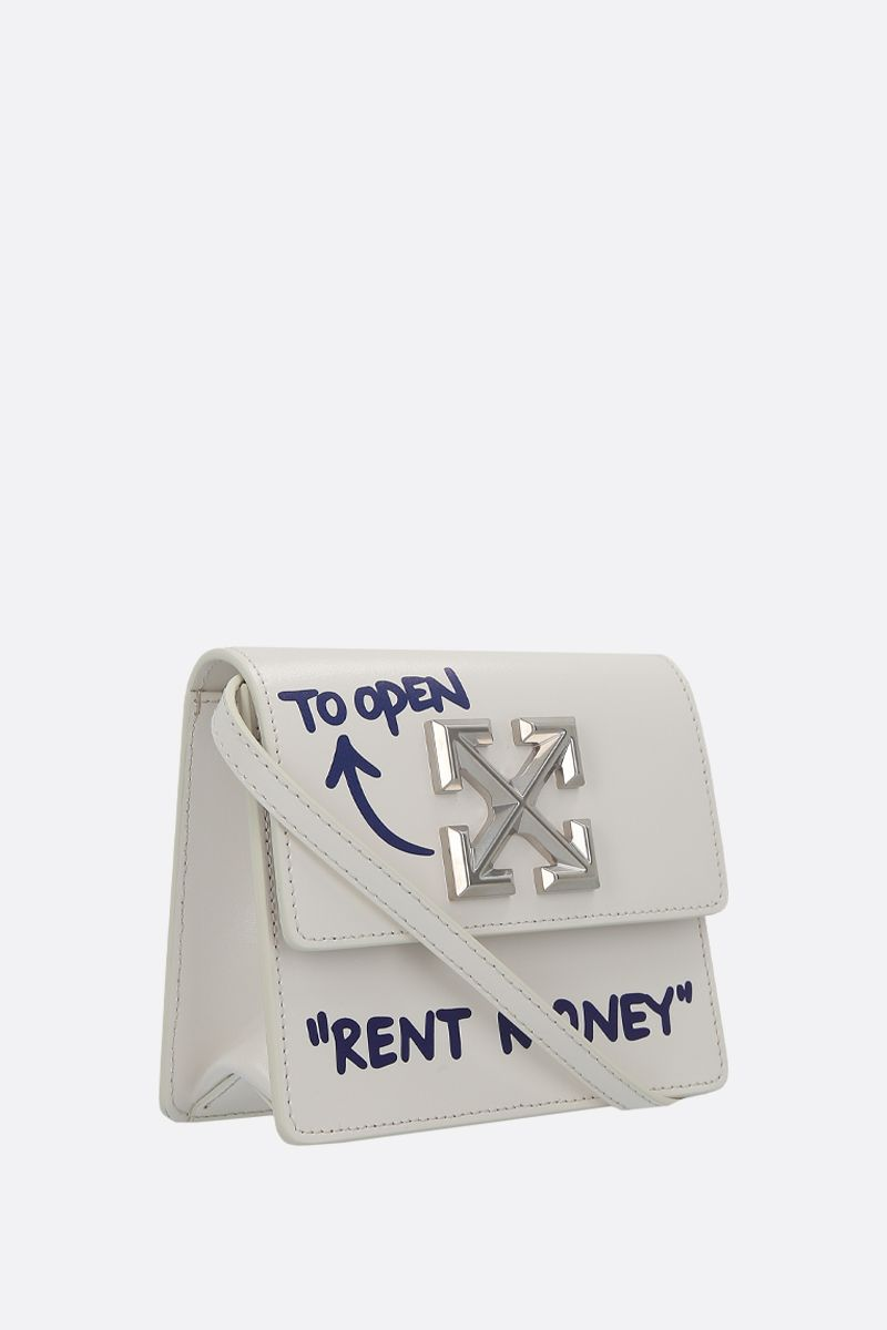 OFF WHITE: Quote Jitney 0.7 shiny leather crossbody bag Color White_2