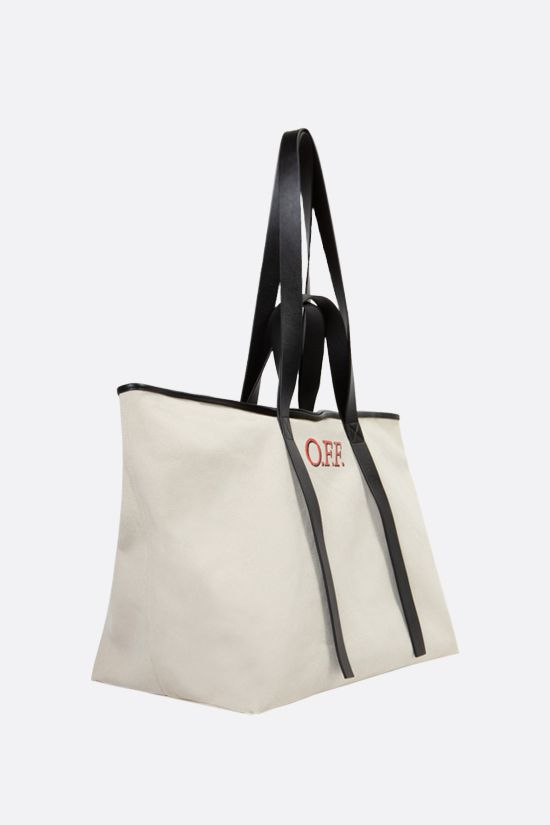 OFF WHITE: Commercial canvas tote bag Color Neutral_2