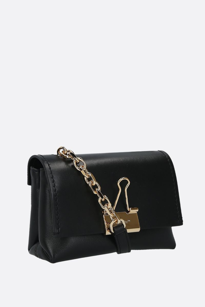 OFF WHITE: small Binder Clip smooth leather crossbody bag Color Black_2