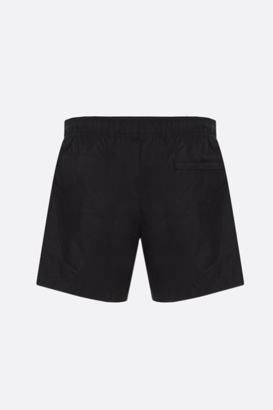 OFF WHITE: logo print nylon swim shorts Color Black_2