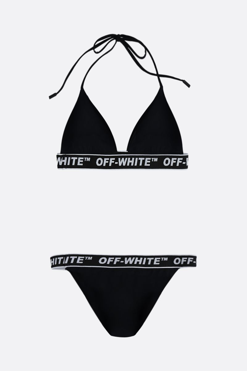 OFF WHITE: logo-detailed lycra bikini Color Black_2