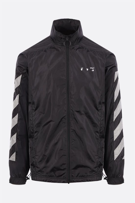 OFF WHITE: giacca a vento Diagonals in nylon Colore Nero_1
