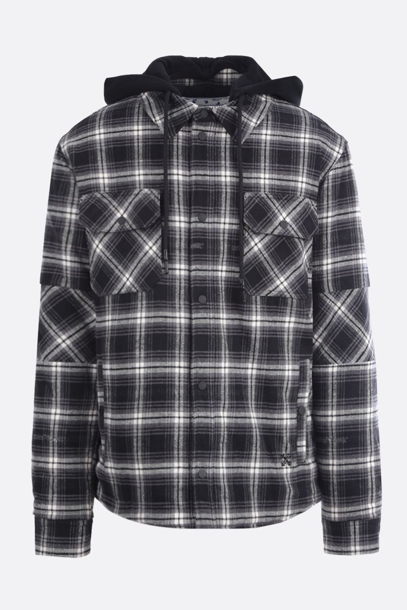 OFF WHITE: check flannel padded overshirt Color Black_1