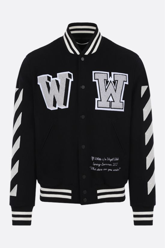 OFF WHITE: bomber Diagonals in misto lana Colore Nero_1