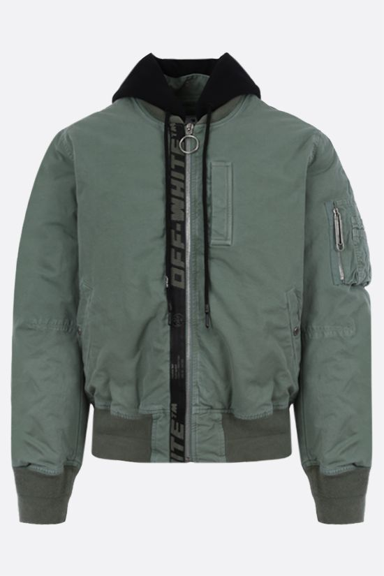 OFF WHITE: Arrow cotton padded bomber jacket Color Green_1
