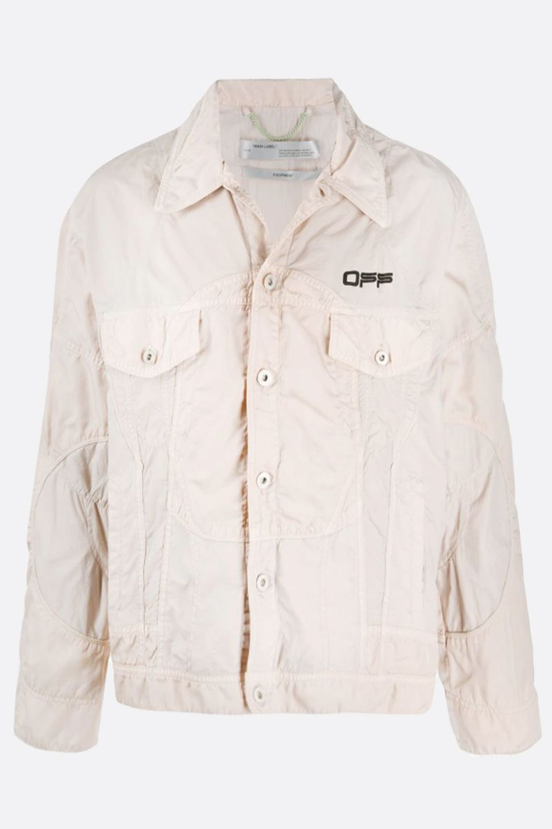 OFF WHITE: OFF print nylon jacket Color Neutral_1
