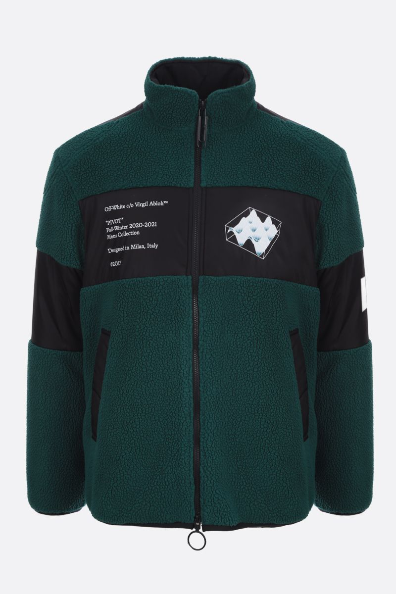 OFF WHITE: fleece and nylon padded jacket Color Green_1