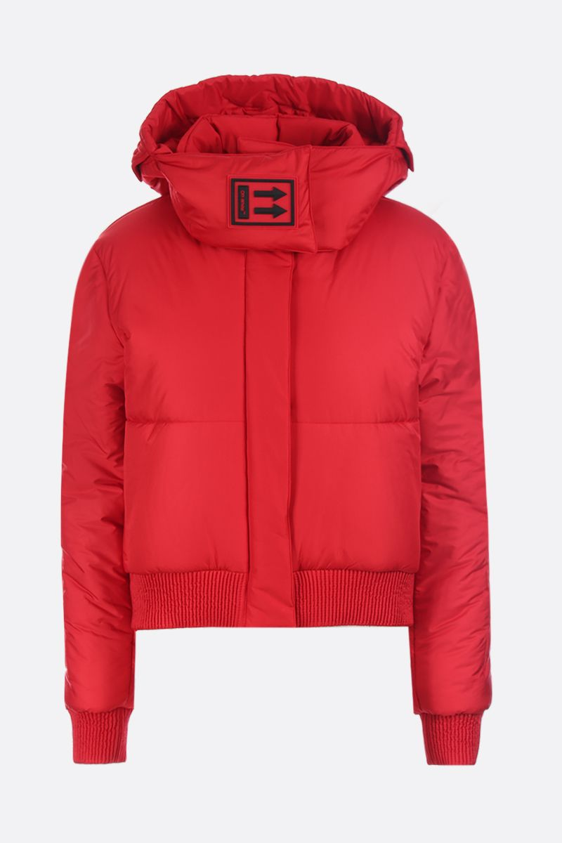 OFF WHITE: logo patch nylon padded jacket Color Red_1
