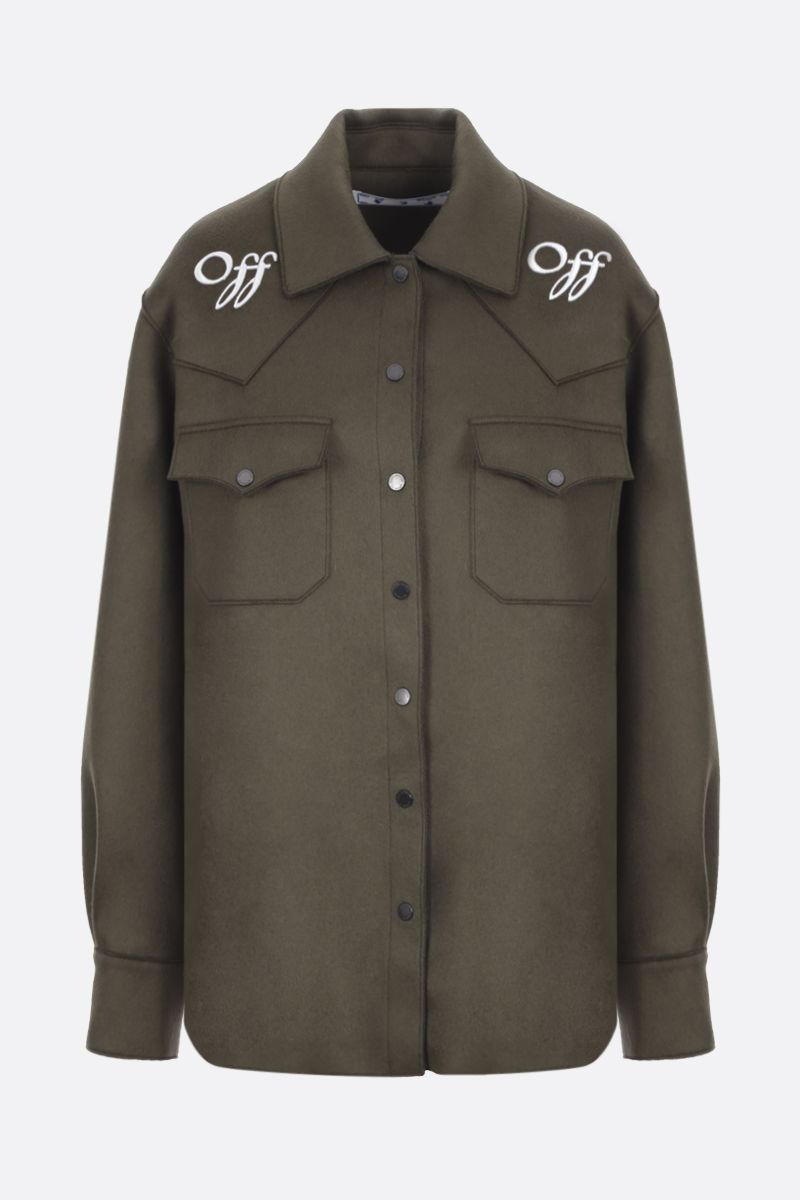 OFF WHITE: Off embroidered wool blend boxy shirt Color Green_1