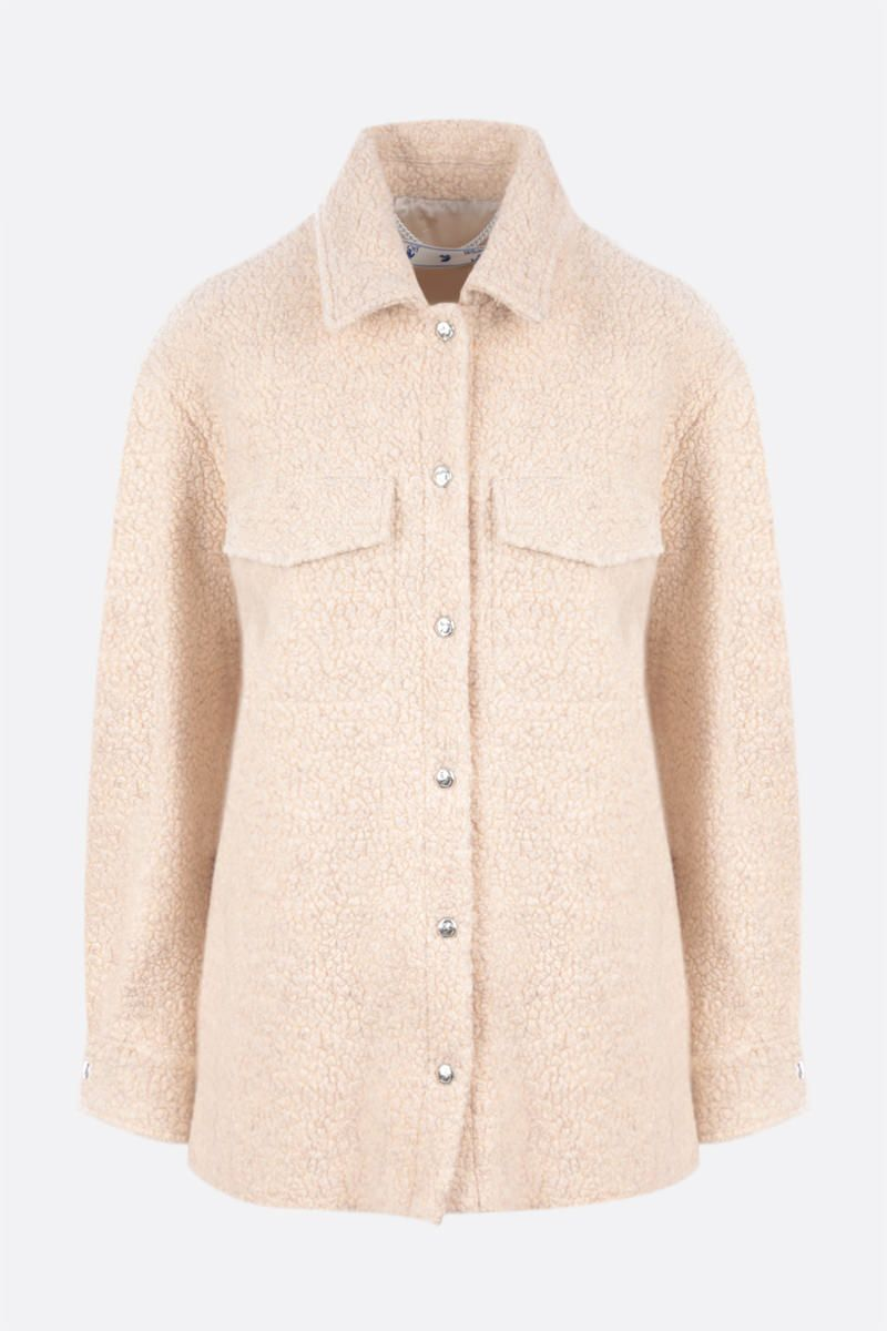 OFF WHITE: Teddy wool blend overshirt Color Neutral_1