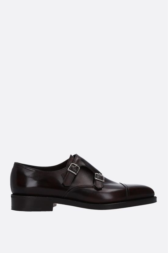 JOHN LOBB: William shiny leather monk strap shoes Color Brown_1