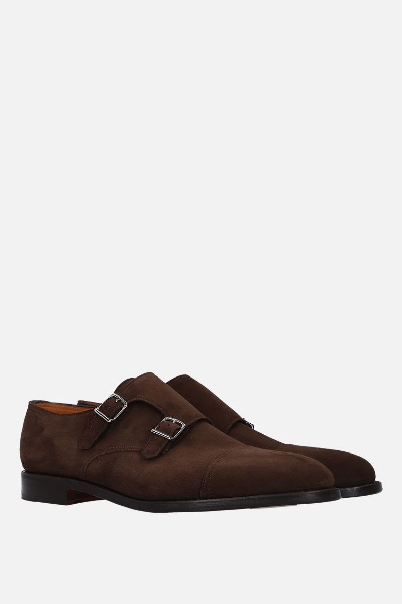 JOHN LOBB: William monk strap shoes in suede Color Gold_2