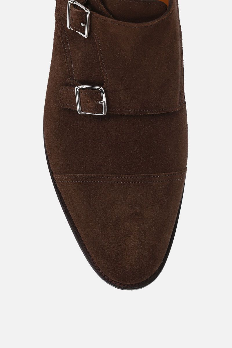 JOHN LOBB: William monk strap shoes in suede Color Brown_4