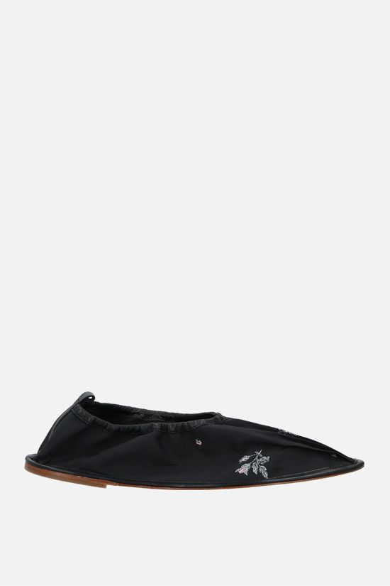 CECILIE BAHNSEN: Hyacinth nylon ballerinas Color Black_1
