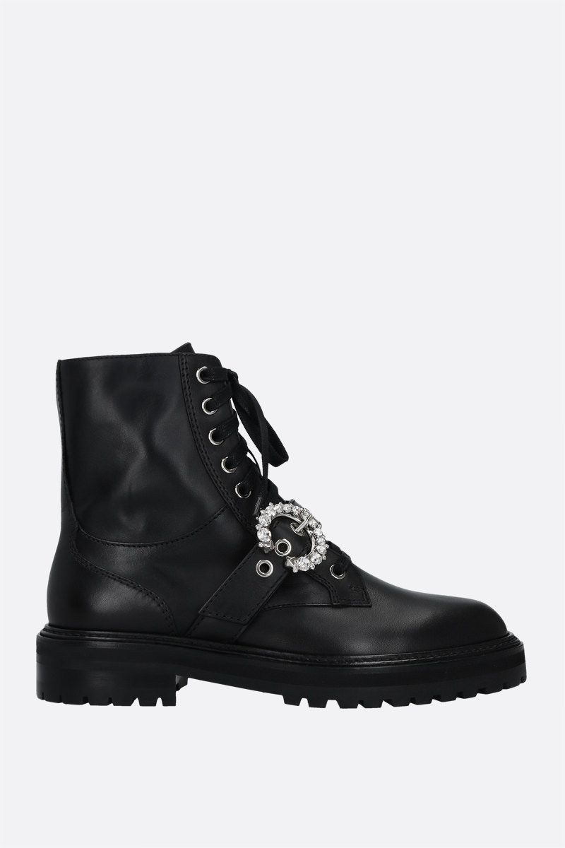 JIMMY CHOO: Cora smooth leather combat boots Color Black_1