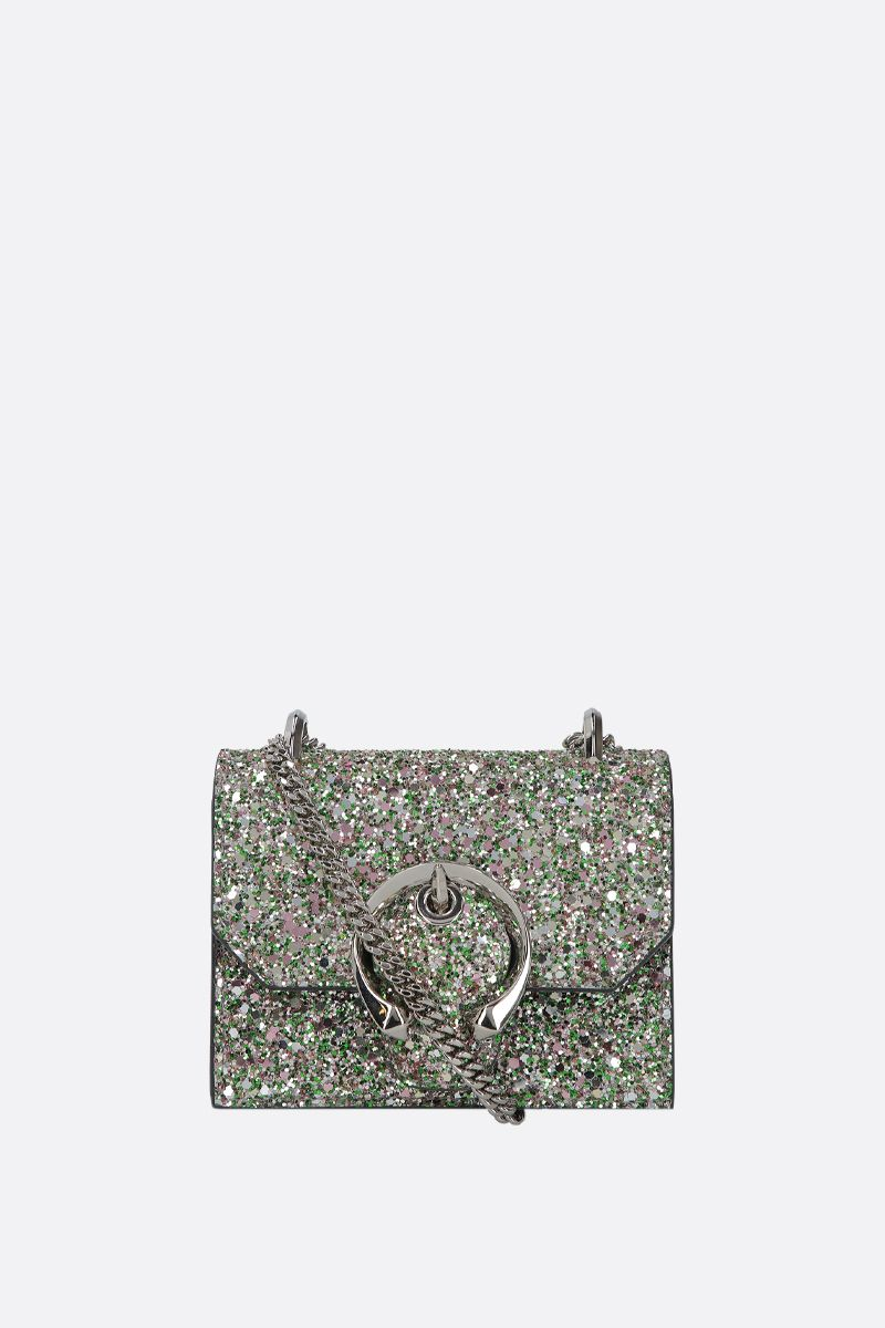 JIMMY CHOO: borsa a tracolla mini Paris in tessuto glitter_1
