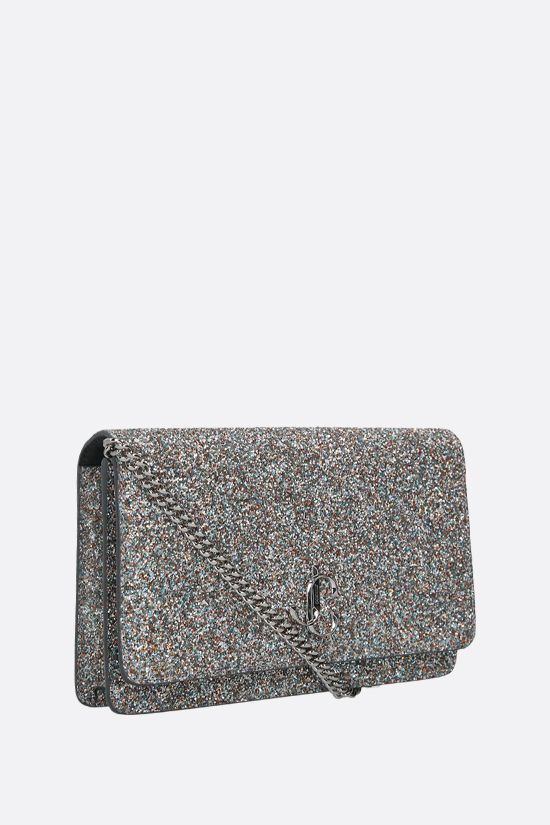 JIMMY CHOO: clutch con catena Palace in tessuto glitter Colore Argento_2
