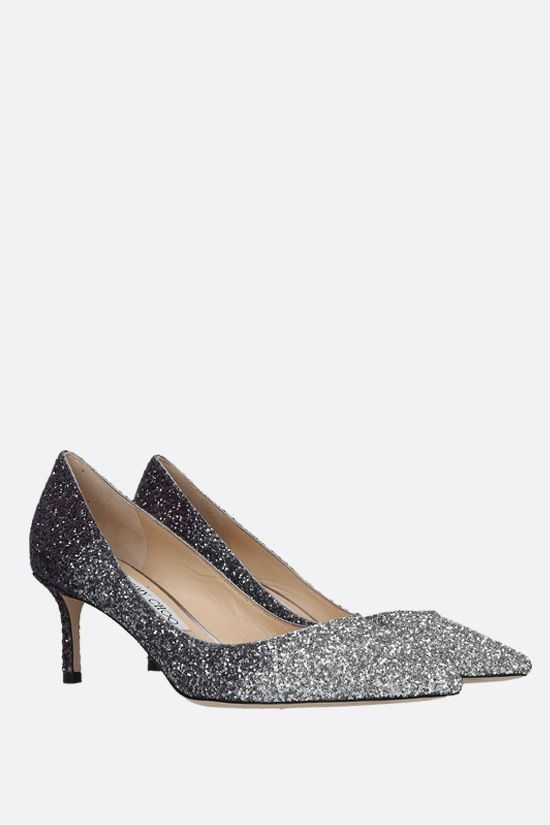 JIMMY CHOO: Romy glitter fabric pumps Color Silver_2
