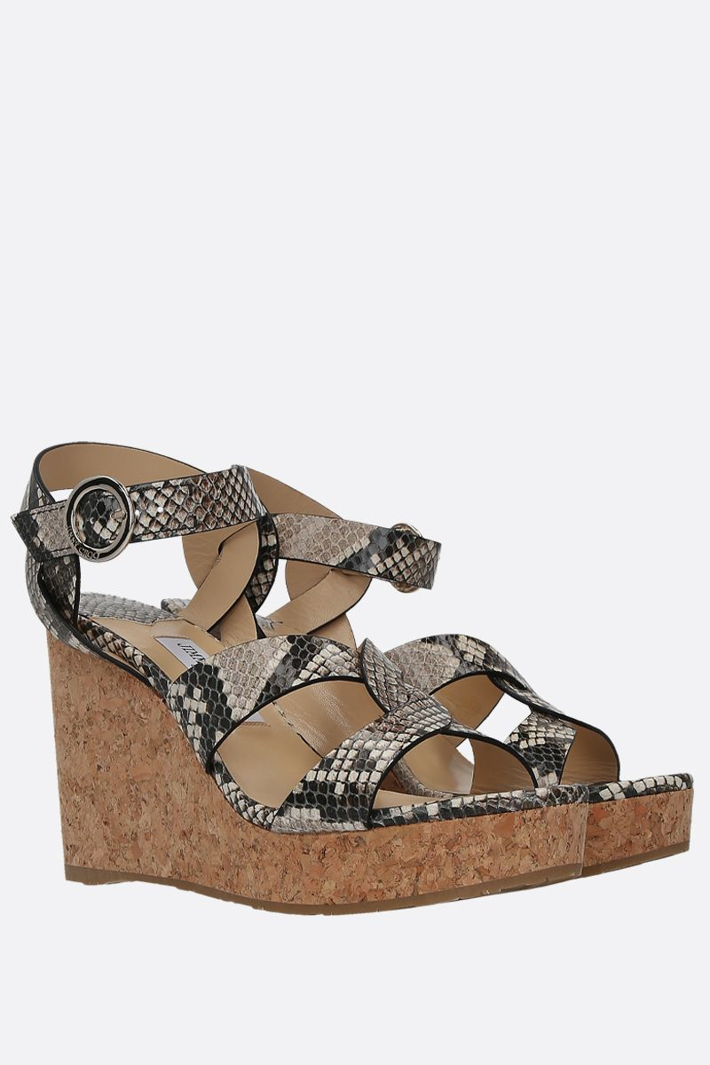 JIMMY CHOO: Aleili wedge sandals in python embossed leather Color Neutral_2