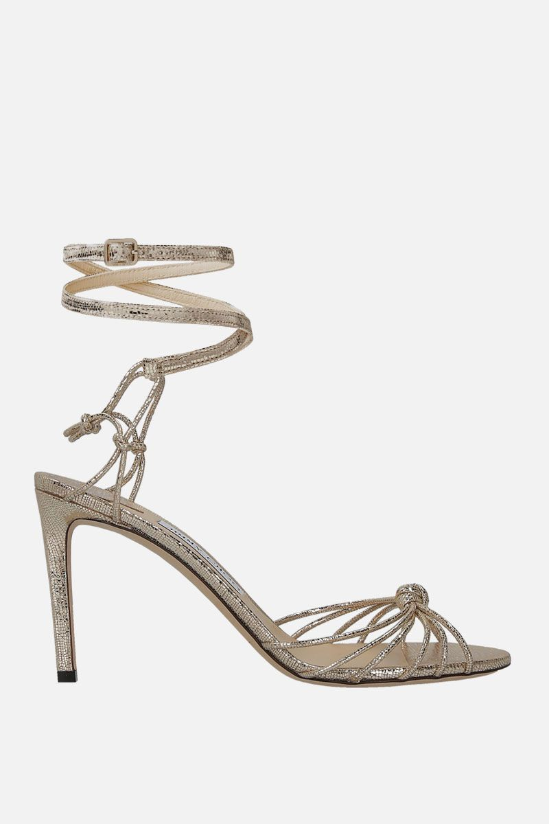 JIMMY CHOO: Lovella sandals in laminated leather Color Gold_1
