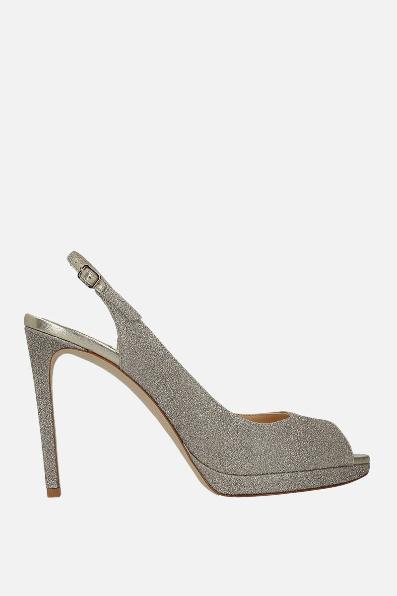 JIMMY CHOO: Nova platform sandals in glitter fabric Color Silver_1