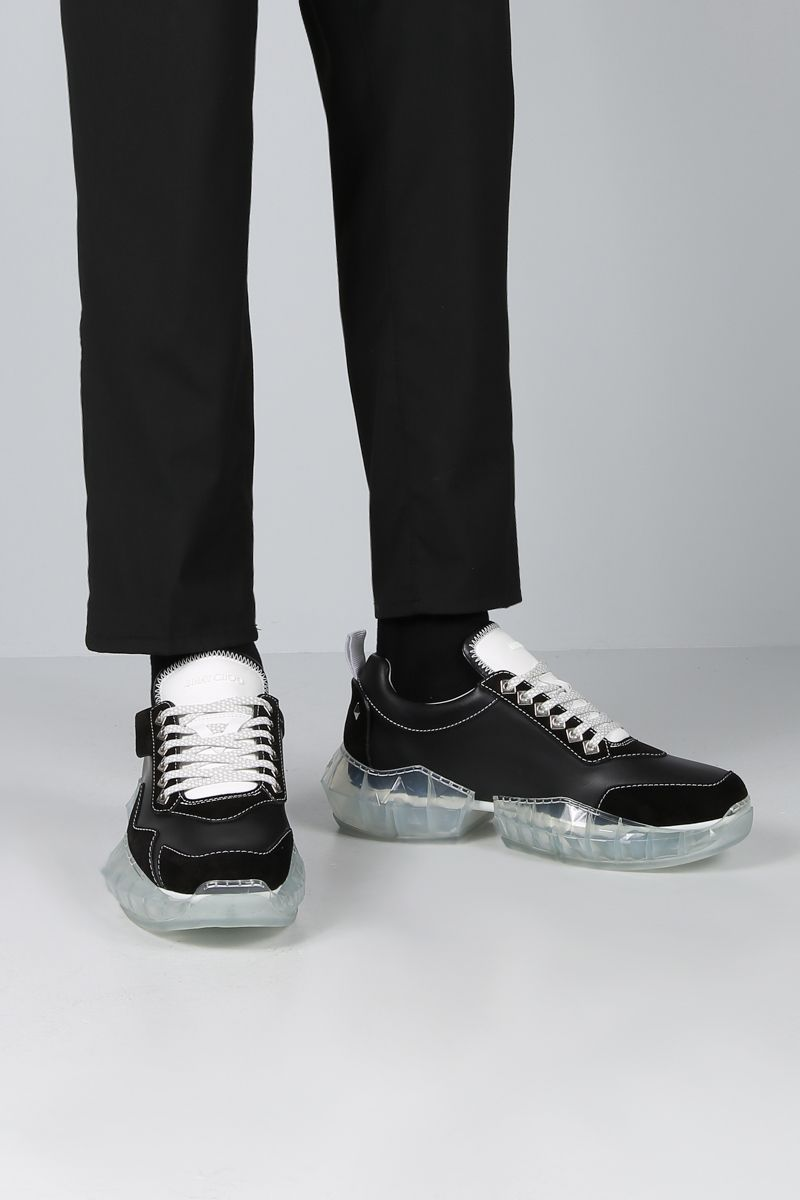 JIMMY CHOO: Diamond/M sneakers in smooth leather and suede Color Black_2