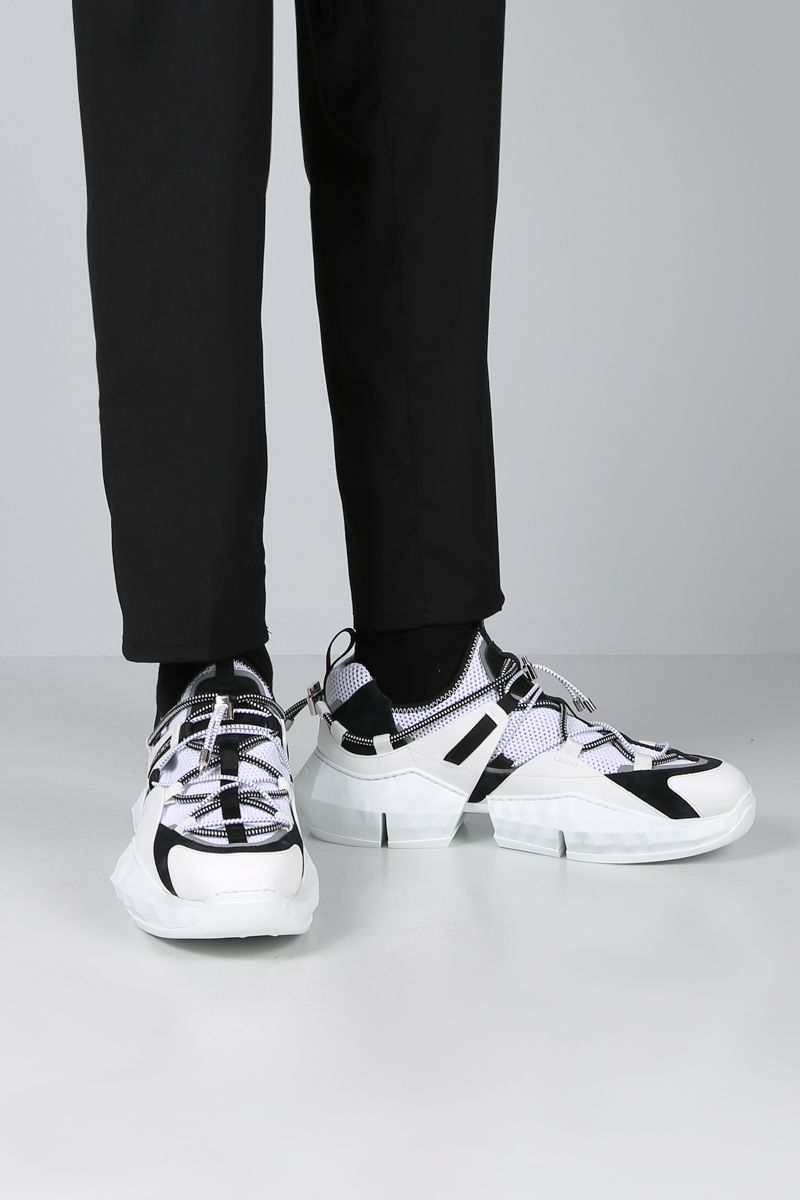 JIMMY CHOO: sneaker Diamond Trail/M in rete e pelle Colore Nero_2