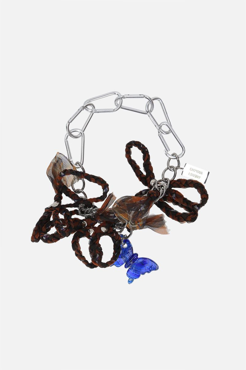 CHOPOVA LOWENA: flowers and butterfly charm steel chain necklace Color Silver_1