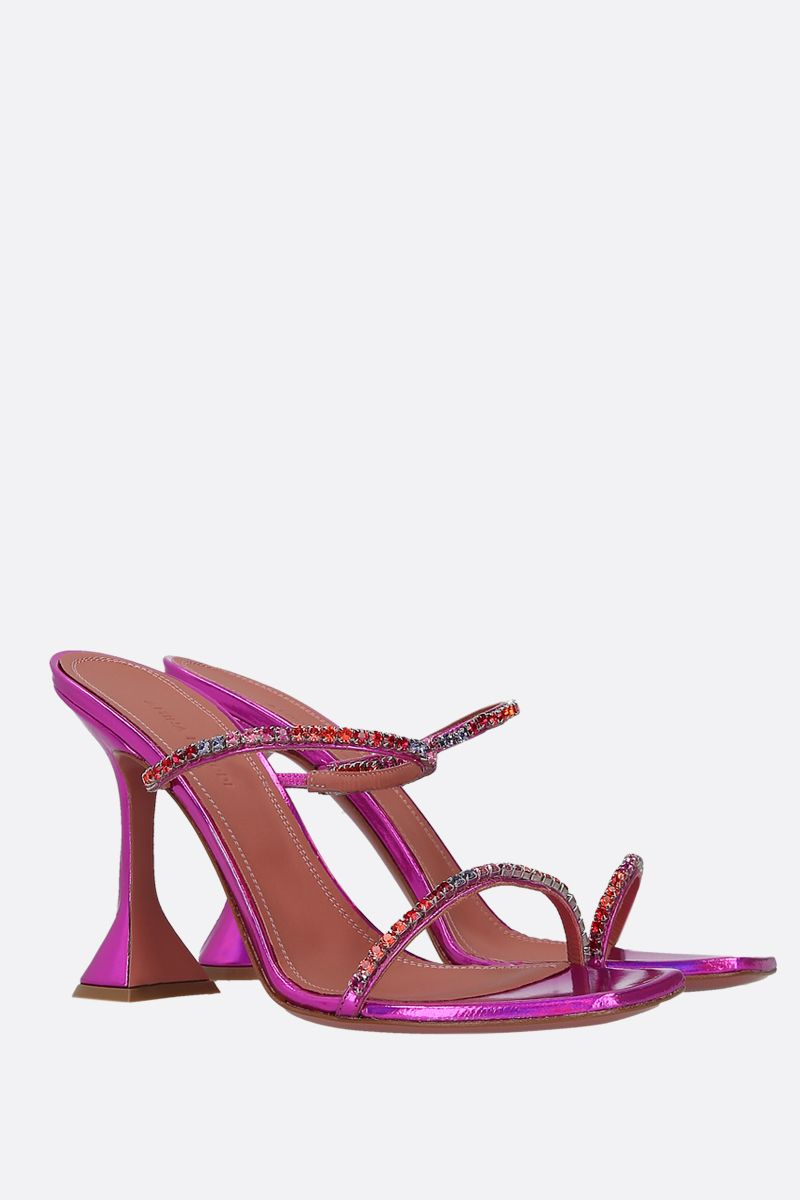 AMINA MUADDI: Gilda hologram leather mule sandals Color Pink_2