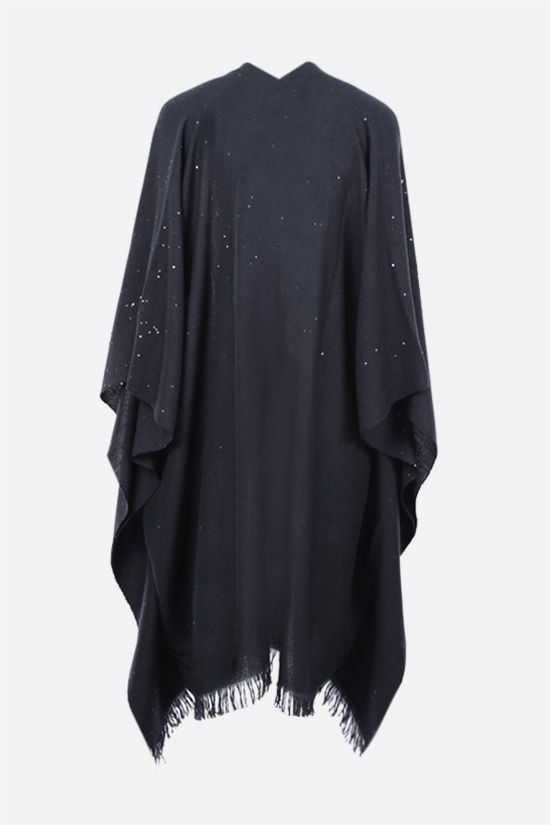 BRUNELLO CUCINELLI: sequinned cashmere silk blend cape Color Blue_2